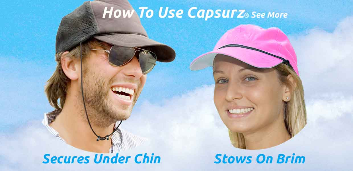 Capsurz How To: Secures under chin; stows on brim