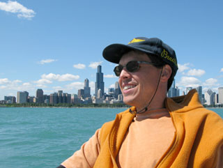 Matt aboard sailboat, Chicago skyline testimonial