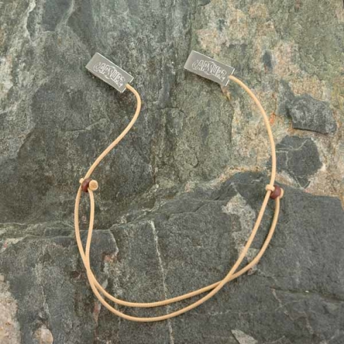 Capsurz® Keep Your Hat On Your Head In the Wind Sand Cord With Dark Brown Wood Beads