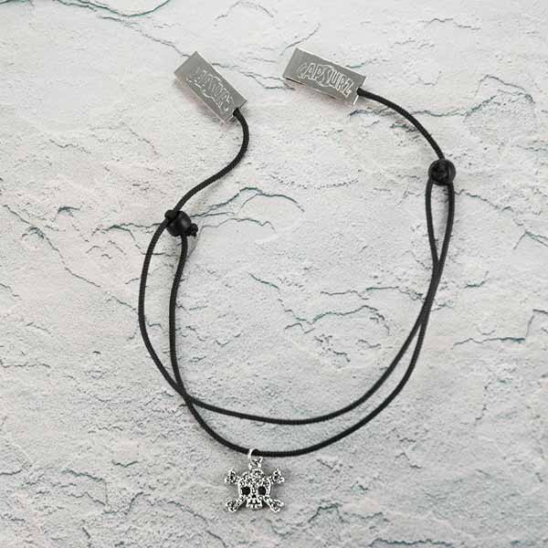Capsurz® Hold Your Hat Down In the Wind Black Cord With Black Glass Beads And Skull Bling Charm