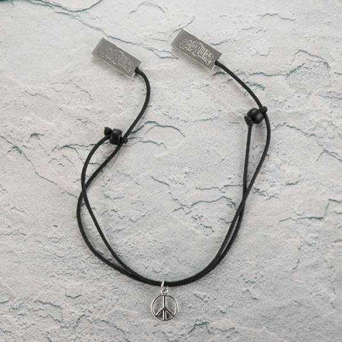 Capsurz® Hold Your Hat Down In the Wind Black Cord With Black Glass Beads And Peace Sign Charm