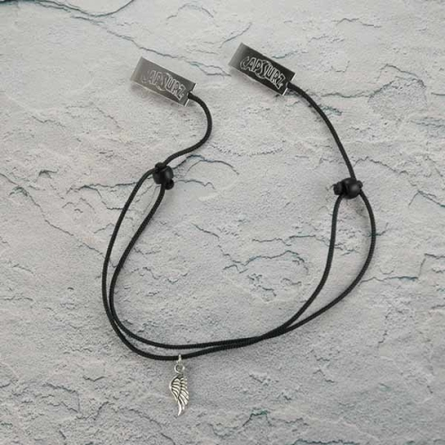 Capsurz® Hold Your Hat Down In the Wind Black Cord With Black Glass Beads And Wing Charm